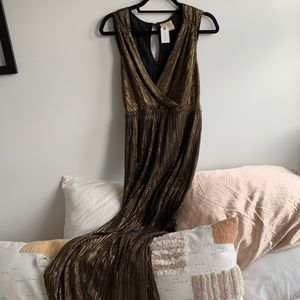 Anthropologie S Gold Pleated Jumpsuit